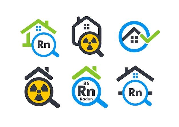 Dom z powiększającą koncepcją logo stylu płaskiego kreskówki radon ikona testowania domu