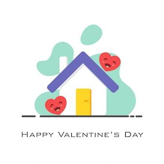 Dom z sercami w stylu płaski na walentynki