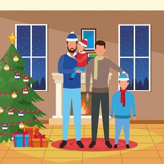 Dom z świąteczną dekoracją i szczęśliwą rodziną