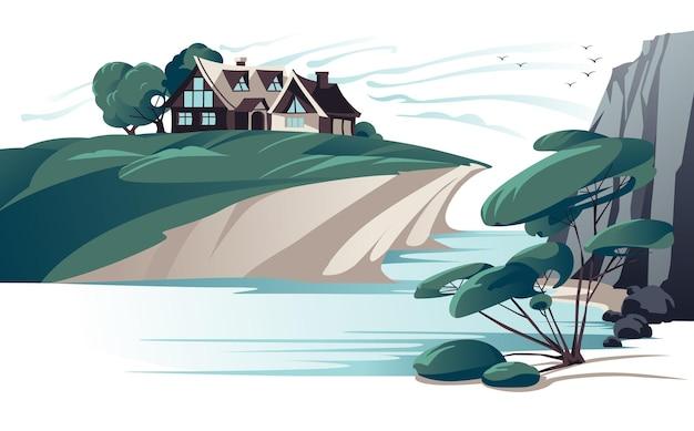 Dom zaciszny nad brzegiem rzeki płaski kolor.