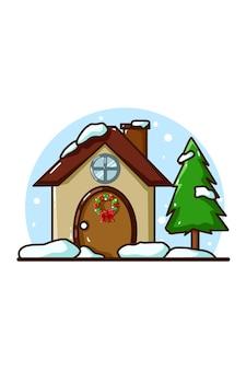 Dom ze świerkiem w okresie świątecznym