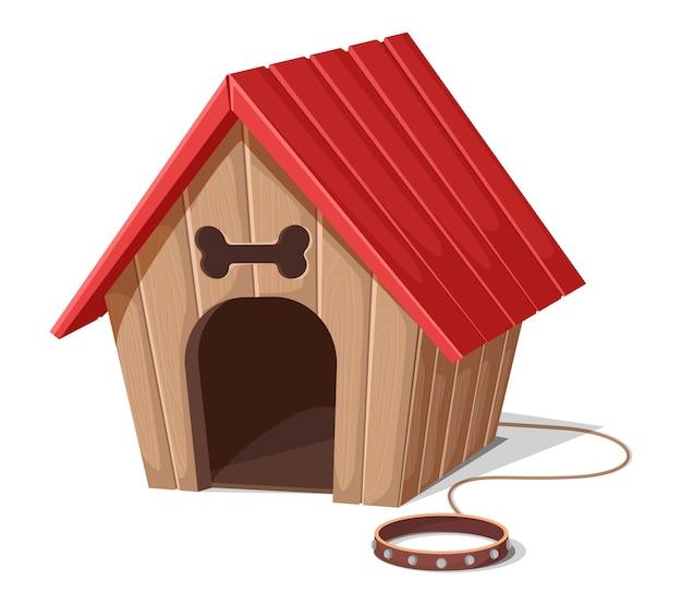 Domek dla psa w stylu cartoon z liną i czerwoną obrożą. na białym tle
