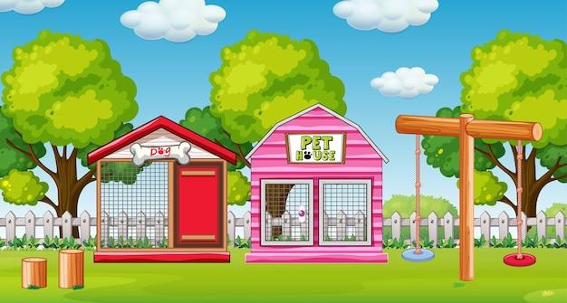 Domek dla zwierząt domowych na podwórku