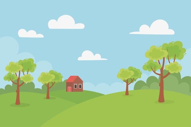 Domek krajobrazowy na wzgórzach, drzewa, łąka, natura, niebo, ilustracja