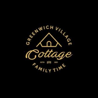 Domek lub kabina logo wektor linii sztuki vintage, ilustracja projektu przytulnego obozu wynajem, koncepcja czasu rodzinnego