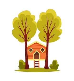 Domek na drzewie dla dzieci na białym tle