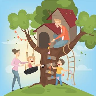 Domek na drzewie dla dzieci. rodzice budują i bawią się.
