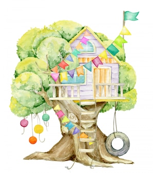 Domek na drzewie, flagi, girlandy. akwarela