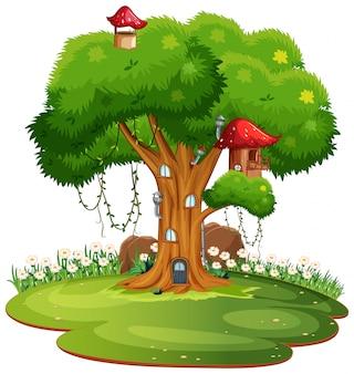 Domek na drzewie na białym abckground