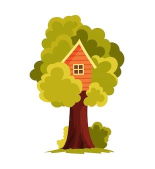 Domek na drzewie. plac zabaw dla dzieci z huśtawką i drabiną. ilustracja urządzony. domek na drzewie do zabawy i imprez. dom na drzewie dla dzieci. drewniane miasteczko, park linowy między zielonymi liśćmi