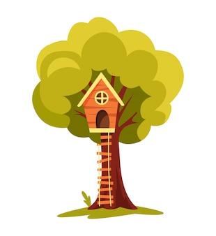 Domek na drzewie. plac zabaw dla dzieci z huśtawką i drabiną. ilustracja wektorowa urządzony. domek na drzewie do zabawy i imprez. dom na drzewie dla dzieci. drewniane miasteczko, park linowy między zielonymi liśćmi