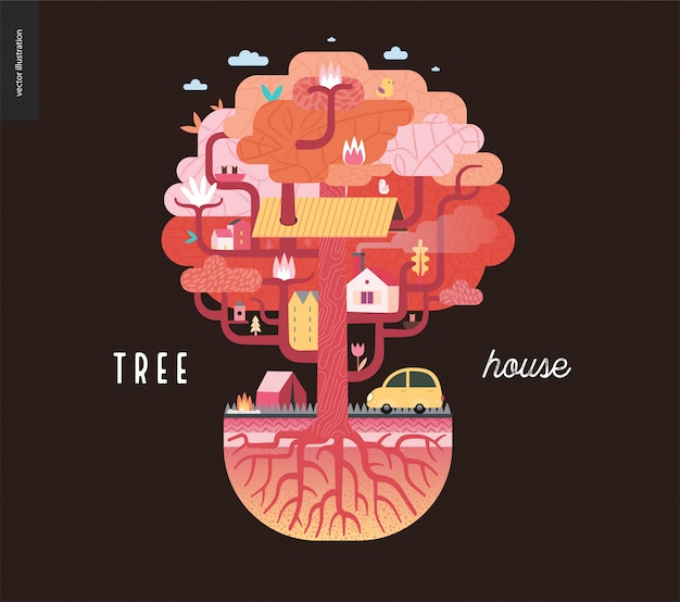 Domek na drzewie w kolorze brązowym