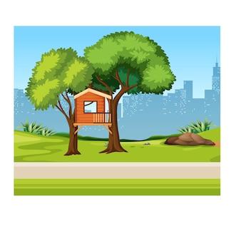 Domek na drzewie w parku