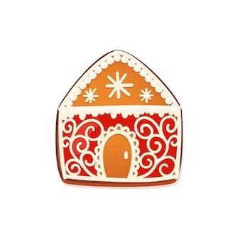 Domek z piernika. słodkie świąteczne tradycyjne ciasteczka z białym lukrem dekoracji. ilustracja wektorowa.