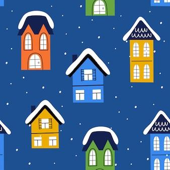 Domki bożonarodzeniowe w stylu ręcznie rysowanym. minimalizm, proste bezszwowe tło.
