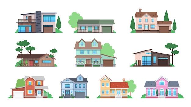 Domki. elewacje domu, domek lub podmiejska kamienica, widok z przodu domy jednorodzinne z garażem i tarasem, architektura nieruchomości nowoczesny projekt płaski wektor na białym tle zestaw