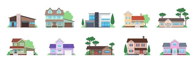 Domki wiejskie. widok z przodu nowoczesny podmiejski dom, wiejskie kamienice i elewacje domków, architektura budynku z garażem i tarasem. dom rodzinny, projekt nieruchomości płaski wektor na białym tle zestaw