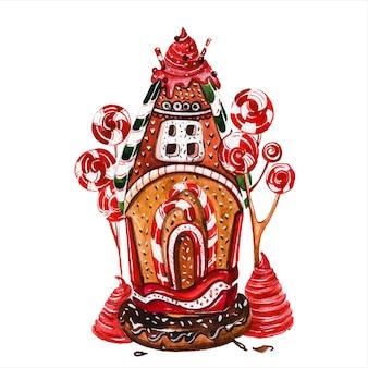Domki z piernika ręcznie rysowane akwarele ilustracje ustawiają świąteczne ciasteczka budynki z lizakami i lodami na białym tle bajkowe chaty z dekoracjami cukierniczymi obrazy aquarelle