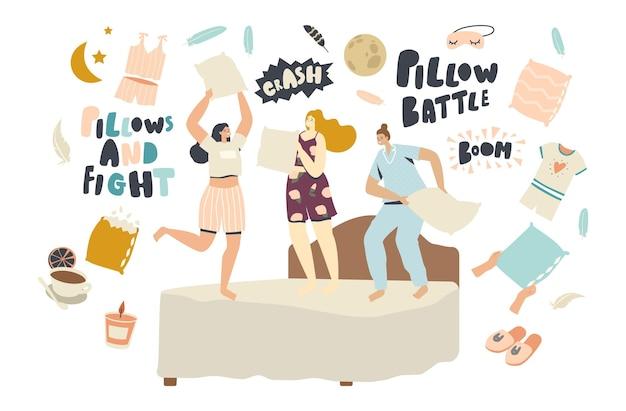 Domowa impreza, dziewczyny wygłupiają się, nastolatki skaczą na łóżku tańczą i walczą na poduszkach na kanapie w pokoju. wypoczynek, relaks, dziecinne zachowanie, rekreacja styl życia. ilustracja wektorowa ludzi liniowych