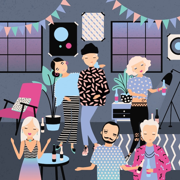 Domowa impreza z tańcem, piciem ludzi. modni młodzi chłopcy i dziewczęta w jasnych ubraniach. kolorowa ilustracja w kreskówka stylu.