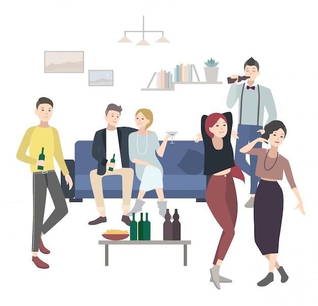Domowa impreza z tańcem, piciem ludzi. płaska ilustracja.