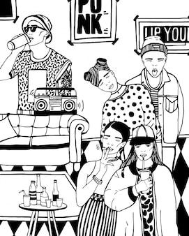 Domowa impreza z tańcem, piciem młodych ludzi, muzyką. ręcznie rysowane czarno-biały ilustracja.