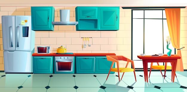 Domowa kuchnia, puste wnętrze z urządzeniami.