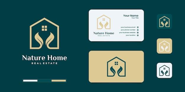 Domowa natura, dom połączony z liściem. szablon projektów logo.
