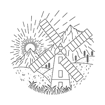 Domowa natury góry dzika kreskowa ilustracja