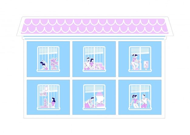 Domowa okno sylwetki płaska ilustracja