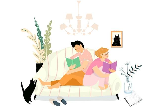 Domowa przytulna atmosfera wnętrza z ludźmi na kanapie czytającymi książki lub uczącymi się. młoda para relaksująca codzienna rutyna w domu.