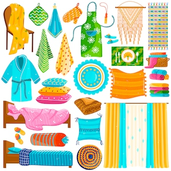 Domowa tekstylna kolekcja, set krajowi płótna na bielu, gospodarstwo domowe tkaniny kolekcja, ilustracja