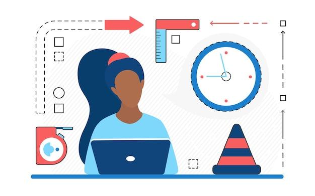 Domowa usługa naprawy klienta kobieta postać i ikony linii laptopa na białym tle