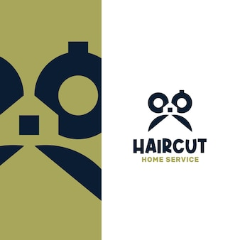 Domowa usługa strzyżenia włosów abstrakcyjny szablon logo