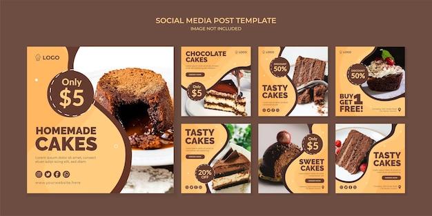 Domowe ciasta szablon postu na instagramie w mediach społecznościowych dla cukierni