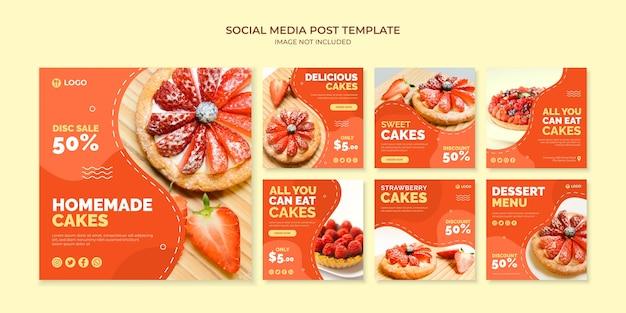 Domowe ciasta szablon postu na instagramie w mediach społecznościowych