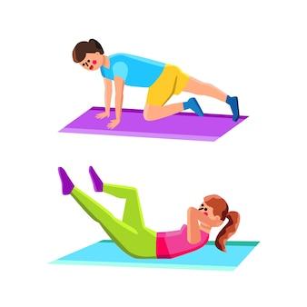 Domowe ćwiczenia sport robi mężczyzna i kobieta