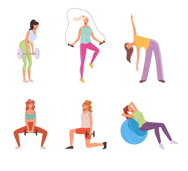 Domowe ćwiczenia sportowe kobieta na białym tle zestaw.