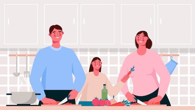 Domowe gotowanie. rodzinne gotowanie potraw w kuchni. matka, ojciec i dziecko. płaska ilustracja
