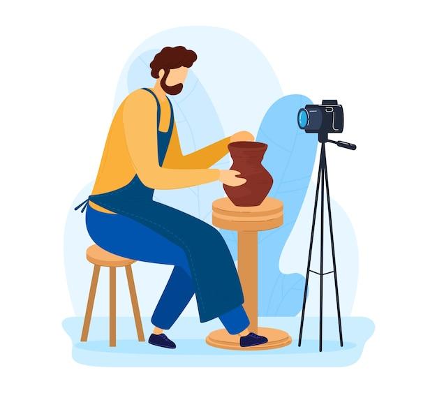 Domowe hobby, dorosły człowiek w warsztacie, inspiracja podczas izolacji, ręcznie robione, projekt kreskówki ilustracja na białym tle. garncarstwo. proces filmowania robienie aparatu z gliny dzbankowej, ciekawe prace domowe.