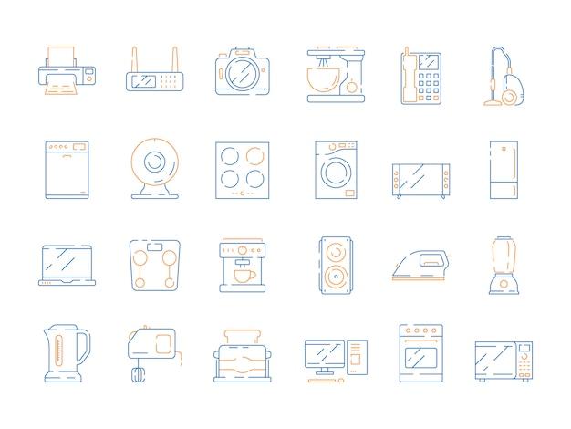 Domowe ikony elektryczne. nowoczesne urządzenia gospodarstwa domowego urządzenia mikrofalowe gadżety komputerowe lodówka tv wektor kolorowe cienkie symbole