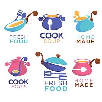 Domowe jedzenie, kolekcja logo, symboli i emblematów do wspólnego menu dań
