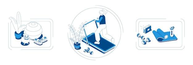 Domowe kompozycje izometryczne z matą do piłki fitness, sztangą, butelką z wodą, trampkami na bieżni