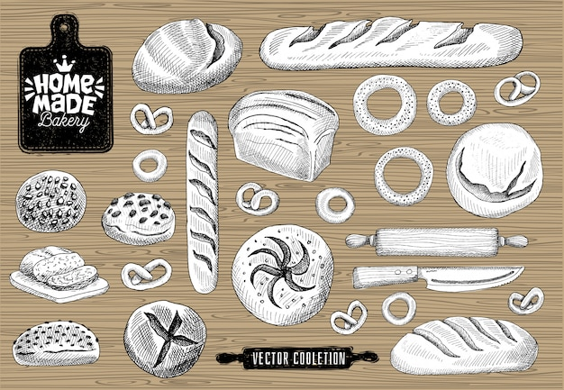 Domowe logo piekarni, pieczenie, kolekcja chleba. projekt logo domu piekarni, sklep spożywczy. chleb, bagietka, bułeczki, domowe wypieki, deska do krojenia, nóż, wałek do ciasta.