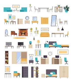 Domowe meble pokojowe na białym tle zestaw