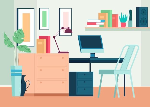 Domowe miejsce pracy wnętrze meble koncepcja salonu płaska ilustracja kreskówka