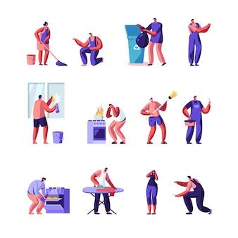 Domowe postacie sprzątające dom, zestaw mistrzów napraw.