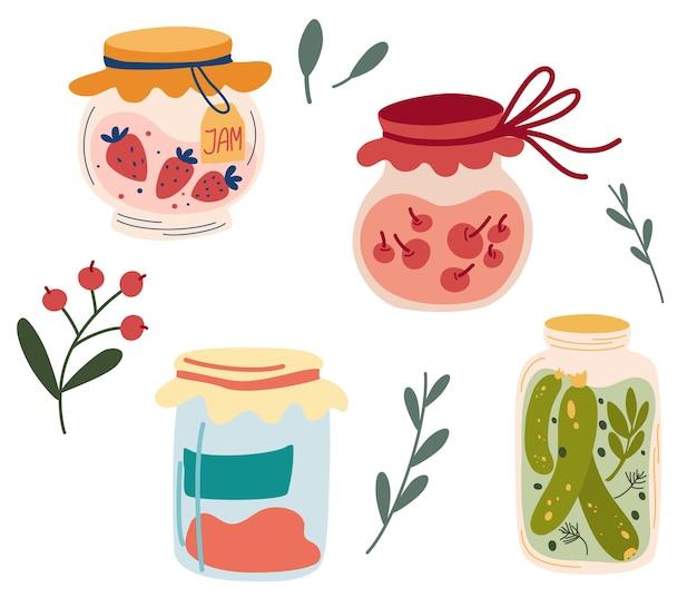 Domowe słoiki do konserwowania owoców i warzyw. zestaw szklanych słoików z konserwami warzywnymi, kompotami owocowymi i konfiturą jagodową. kompot jagodowy lub marmolada, dżem. jesienny sezon żniw. wektor