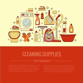 Domowe sprzątanie dostarcza szablon z elementami ustawionymi w konspektu płaski.