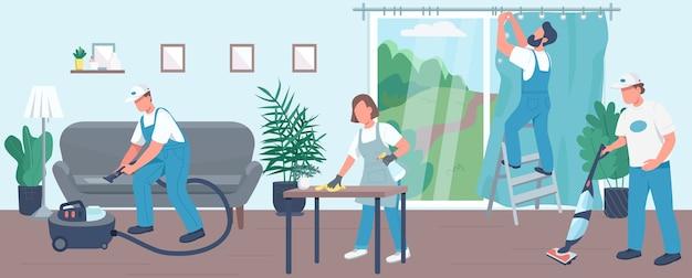 Domowe sprzątanie mieszkania w kolorze. zespół sprzątaczy 2d postaci z kreskówek z meblami na tle. obsługa sprzątająca, sprzątanie. odkurzanie, odkurzanie i zawieszanie zasłon